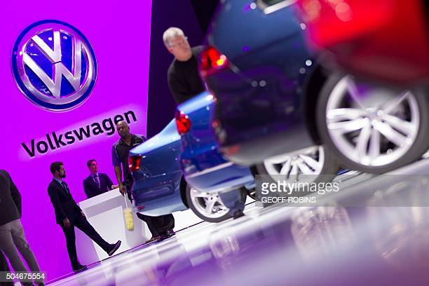 The Volkswagen logo is seen at the company's display at the 2016 North American International Auto Show in Detroit Michigan January 12 2016 AFP...