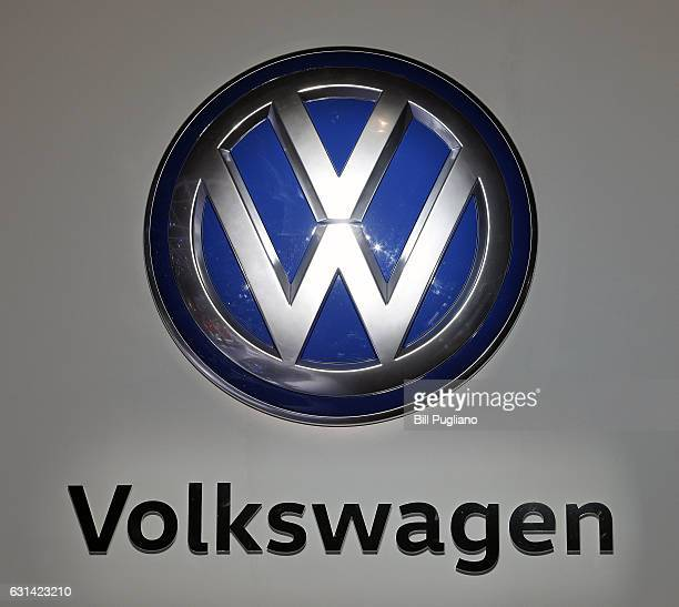 The Volkswagen logo is shown on a sign at the VW exhibit at the 2017 North American International Auto Show on January 10 2017 in Detroit Michigan...