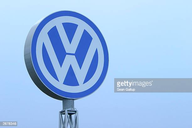 The Volkswagen logo stands October 29, 2003 at the Volkswagen factory just outside Bratislava, Slovakia. The factory produces the VW Polo, Touareg,...