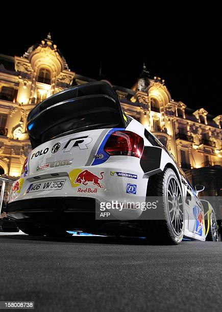 The Volkswagen PoloR of French rallye driver Sebastien Ogier is presented to the press on December 8 in Monaco Sebastien Ogier of France and...
