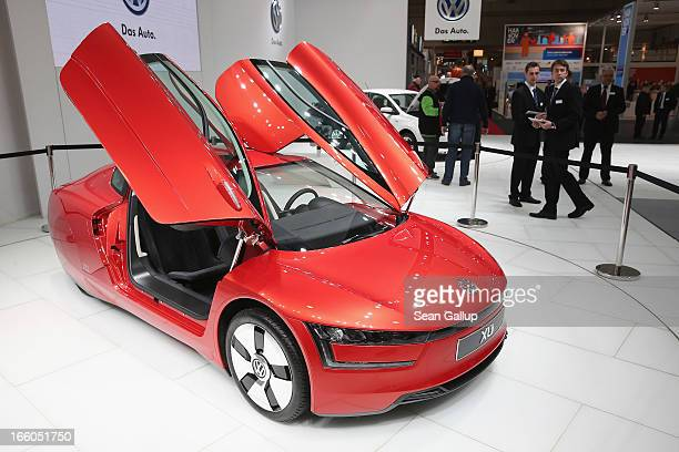 The Volkswagen XL1 a diesel hybrid that consumes only one liter of fuel per 100km or 261 Miles per gallon stands on display at the Hannover Messe...