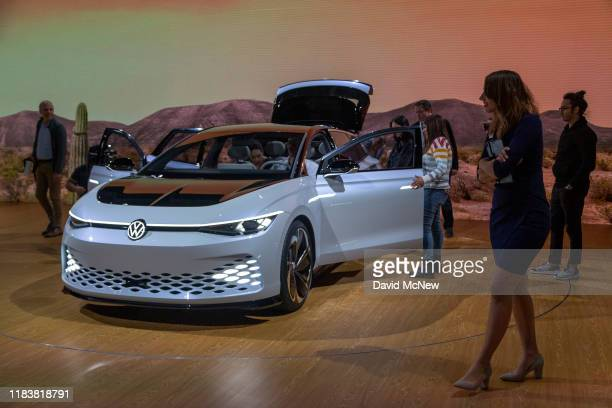 The Volkswagon I.D. Space Vizzion is shown at AutoMobility LA on November 21, 2019 in Los Angeles, California. The four-day press and trade event...