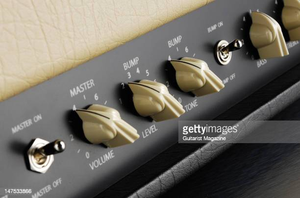 The volume and tone controls of a 65 Amps Stone Pony electric guitar amplifier head unit during a studio shoot for Guitarist Magazine August 11 2008