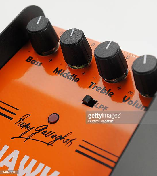 The volume and tone controls of a Flynn Amps Rory Gallagher Hawk Booster electric guitar boost and overdrive effects pedal during a studio shoot for...