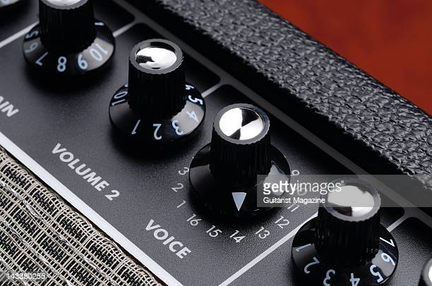 The volume and voice control dials of a Fender Super Champ XD electric guitar amplifier during a studio shoot for Guitarist Magazine December 7 2007