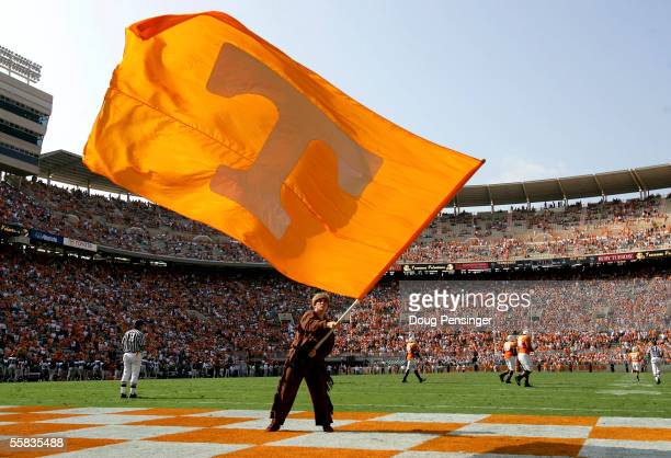 The Volunteer mascot waves the flag in the edzone after a Tennessee touchdown as the Tennessee Volunteers defeated the Mississippi Rebels 27-10 at...