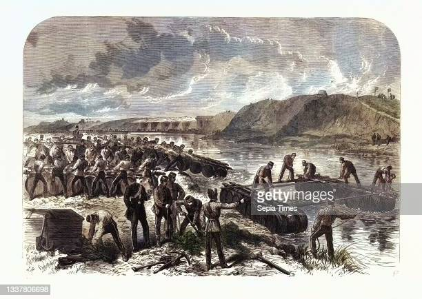 The Volunteer Review at Portsmouth: The First Hants Engineer Volunteers Constructing a Barrel-Pier Bridge for the Sortie at Hilsea Lines 1868.