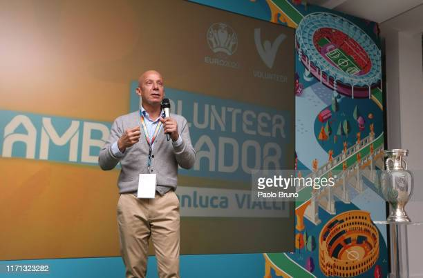 The Volunteers Ambassador Gianluca Vialli attends the UEFA Euro 2020 sponsor workshop at Cavalieri Hotel on September 26 2019 in Rome Italy