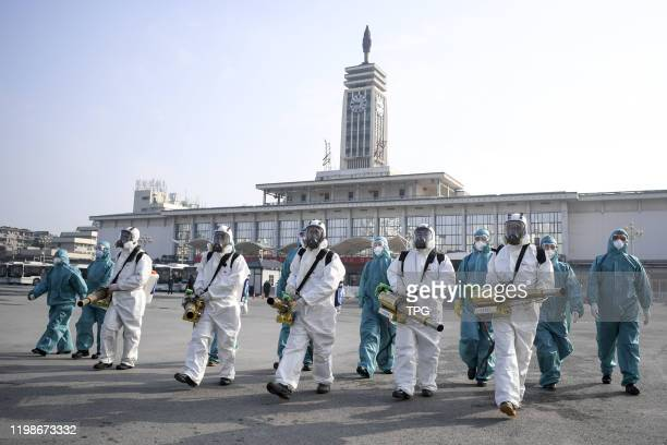 The volunteers from Blue Sky Rescue disinfect the Changsha railway station on 04th February, 2020 in Changsha,Hunan,China.