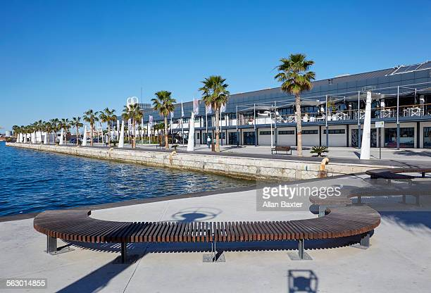 the volvo museum in alicante under blue sky - volvo stock pictures, royalty-free photos & images