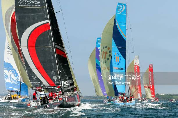 The Volvo Ocean Race fleet under sail during the start of the Volvo Ocean Race's Leg 9 from Newport Rhode Island USA to Cardiff Wales in Newport...
