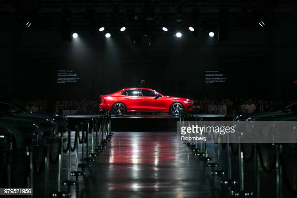 The Volvo S60 vehicle stands on display during an unveiling event at the official opening of the Volvo Cars USA plant in Ridgeville South Carolina US...