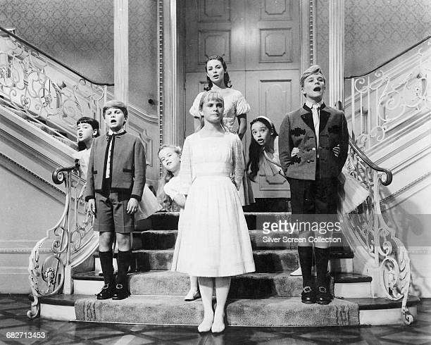 The von Trapp children perform the song 'So Long Farewell' in a scene from the musical film 'The Sound of Music' 1965