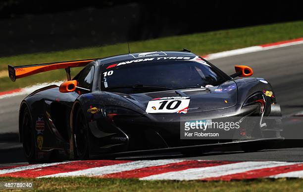The VonRyanRacing McLaren 650S of Ross Wylie and Andrew Watson drives during the British GT Championship race at Brands Hatch on August 2, 2015 in...