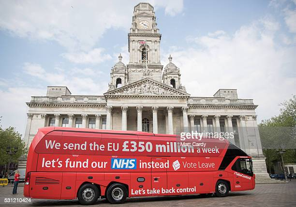 The Vote Leave battle bus stops in Portsmouth on May 13, 2016 in Portsmouth, England. Portsmouth City Council members voted in March in favour of a...