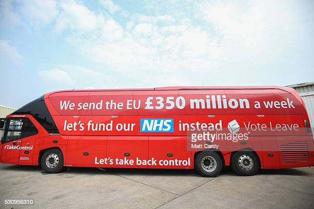 The Vote Leave bus as Boris Johnson visits Reidsteel a Christchurch company backing the Leave Vote on the 23rd June 2016 on May 12 2016 in...