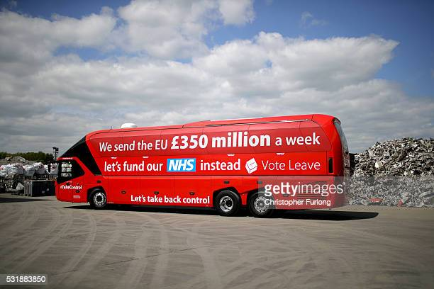 The Vote Leave campaign bus arrives at JBMI Group Kingsilver Refinery in Hixon Staffordshire during the Vote Leave Brexit Battle Bus tour on May 17...