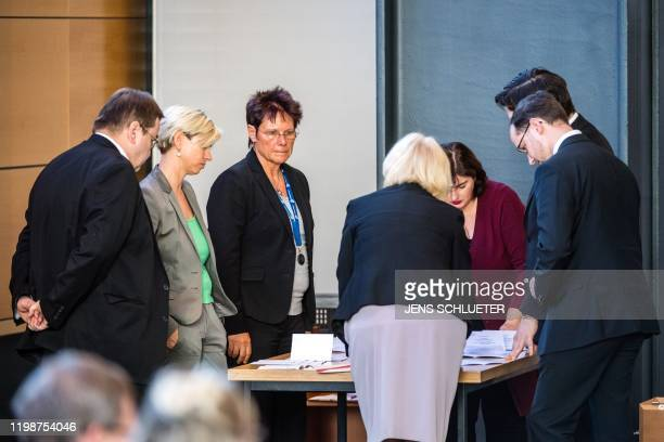 The votes of the third ballot are counted in the election of Thuringia's Prime Minister at the Thuringian state parliament in Erfurt eastern Germany...