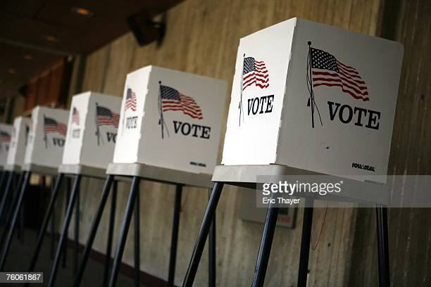 The voting area of the Republican Straw Poll August 11, 2007 in Ames, Iowa. An estimated 40,000 people are expected to attend and take part in the...