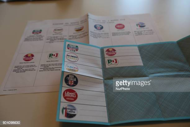 The voting card for the Senate for Italians living abroad for Italy's General Election are seen in the picture There are different parties votable...