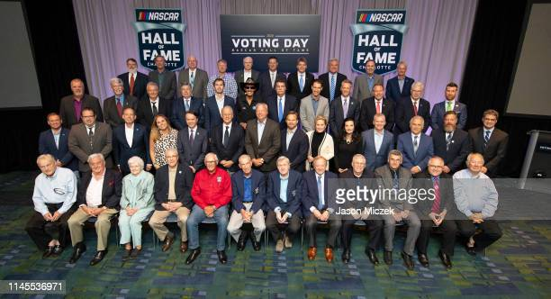 2019 The voting panel poses for a photo before the NASCAR Hall of Fame Voting Day at the Charlotte Convention Center on May 22 2019 in Charlotte...