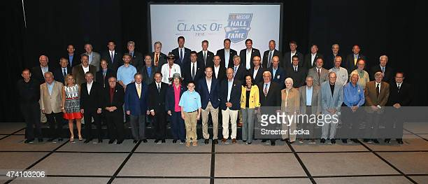 The voting panel poses for a picture ahead of the NASCAR Hall Of Fame Class Of 2016 Annoucement at NASCAR Hall of Fame on May 20 2015 in Charlotte...