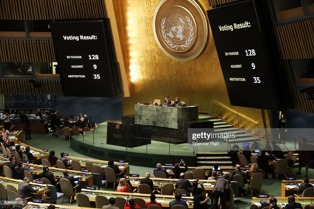 The voting results are displayed on the floor of the United Nations General Assembly in which the United States declaration of Jerusalem as Israel's capital was declared 'null and void' on December 21, 2017 in New York City. The vote, 128-9, at the United Nations concerned Washington's decision to recognize Jerusalem as Israel's capital and relocate its embassy there. The Trump administration has threatened to take action against any country that votes against the United States decision to move its embassy.