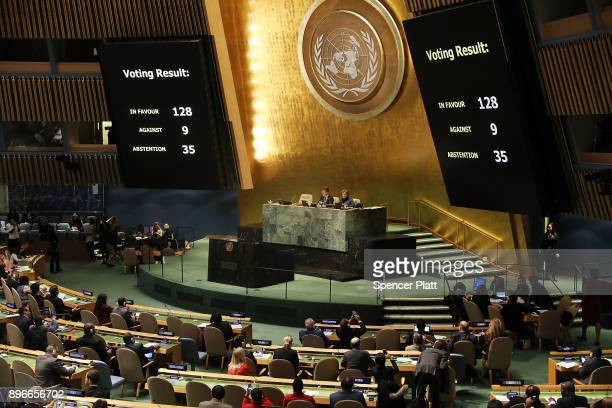 The voting results are displayed on the floor of the United Nations General Assembly in which the United States declaration of Jerusalem as Israel's...