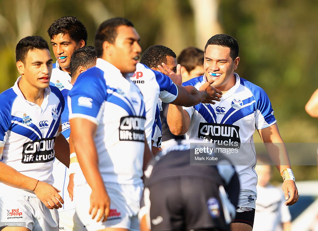 The Vulcans players celebrate a try during the round nine NSW Cup match between the Wentworthville Magpies and the Auckland Vulcans at Ringrose Park on April 28, 2012 in Sydney, Australia. Sandow who was recruited by the Parramatta Eels was dropped from the NRL side for this weekend's match against the Wests Tigers.