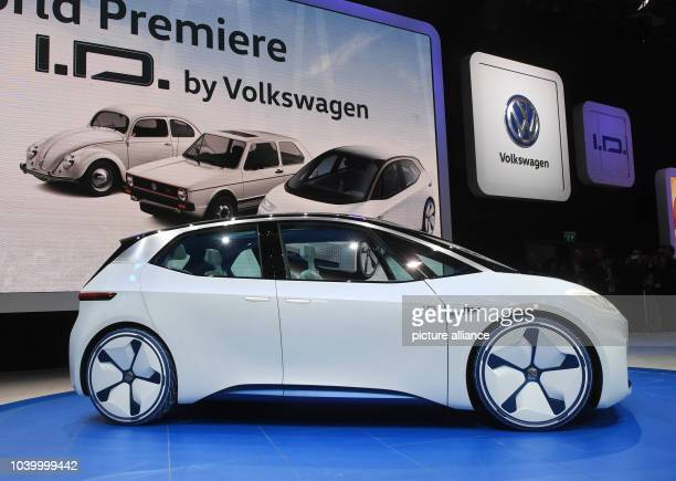 The VW I.D., an entirely electric car, being presented during the first press day at the Paris Motor Show in Paris, France, 29 September 2016. The...