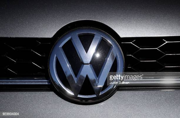 The VW logo is displayed in the front of a brand new Volkswagen car that is displayed at a Volkswagen dealership on February 23 2018 in Richmond...