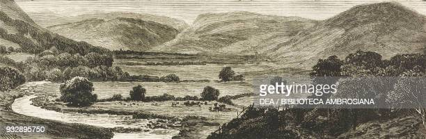 The Vyrnwy Valley site of the proposed lake Water Works at Liverpool England United Kingdom illustration from the magazine The Graphic volume XXIV no...