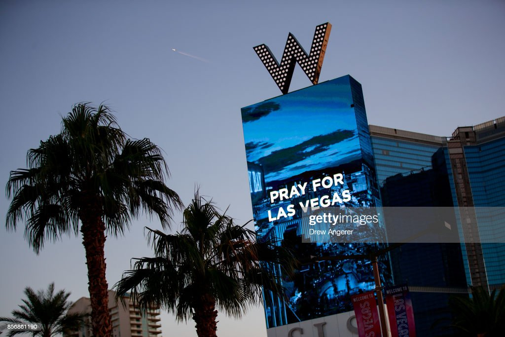 The W Las Vegas displays a message for the victims of Sunday night's mass shooting, October 2, 2017 in Las Vegas, Nevada. Late Sunday night, a lone gunman killed more than 50 people and injured more than 500 people after he opened fire on a large crowd at the Route 91 Harvest Festival, a three-day country music festival. The massacre is one of the deadliest mass shooting events in U.S. history.