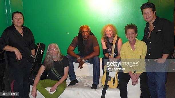 The Waddy Wachtel band Al Ortiz Phil Jones Bernard Fowler Waddy Wachtel Blondie Chaplin and Ron Dziubla poses for a portrait backstage at the Black...