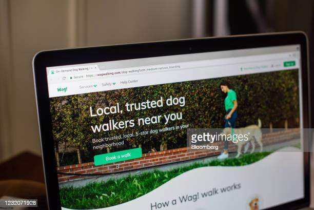 The Wag Labs Inc. Website on a laptop computer arranged in Dobbs Ferry, New York, U.S., Thursday, April 1, 2021. One of the signs that Covid-19's...