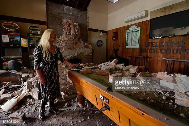The Waiau Lodge Hotel in Waiau 120 kms north of Christchurch shows damage in the aftermath of a 75 magnitude earthquake on November 14 2016 in Waiau...
