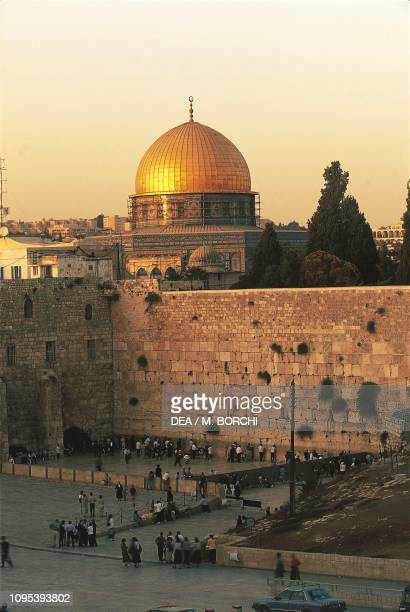 The Wailing wall with the Dome of the Rock in the background, Old City of Jerusalem , Israel.