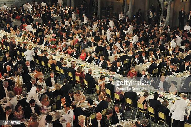 The waiters arrive at the Nobel Prize Banquet at Stockholm City Hall on December 10 2011 in Stockholm Sweden