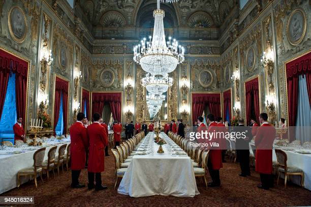 Rome Italy February 13 2012 The waiters in the Quirinale during the preparations for a lunch was offered by the President of the Italian Republic in...