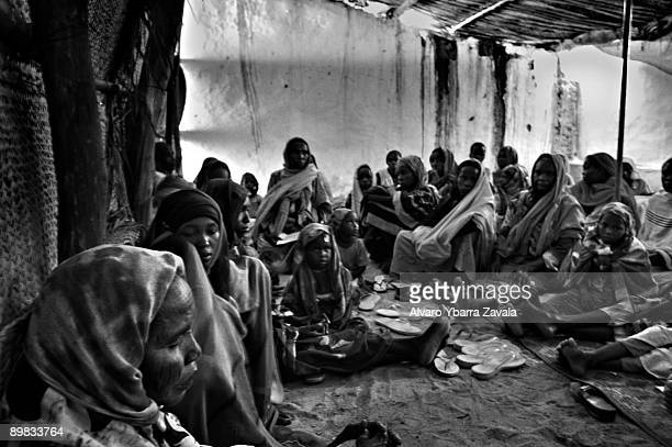 The waiting room for the Medecins Sands Frontieres health station at the Iribime refugee camp