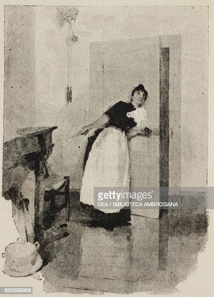 The waitress eavesdropping behind a door engraving from Sappho Parisian manners by Alphonse Daudet engravings by Guillaume Freres