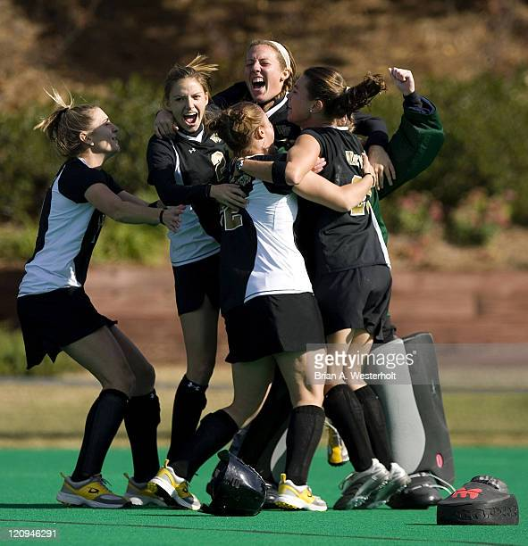 The Wake Forest Demon Deacons celebrate their 10 victory over the Maryland Terrapins to capture the 2006 ACC Field Hockey Championship at Francis E...