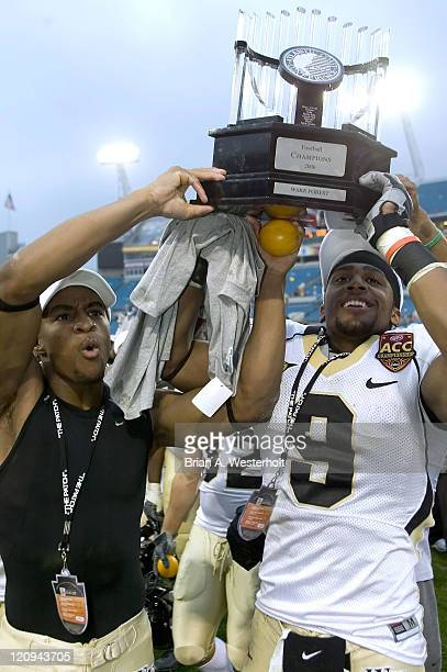 The Wake Forest Demon Deacons celebrate winning their first ACC Championship since 1970 at Alltel Stadium in Jacksonville, Florida, December 2, 2006....