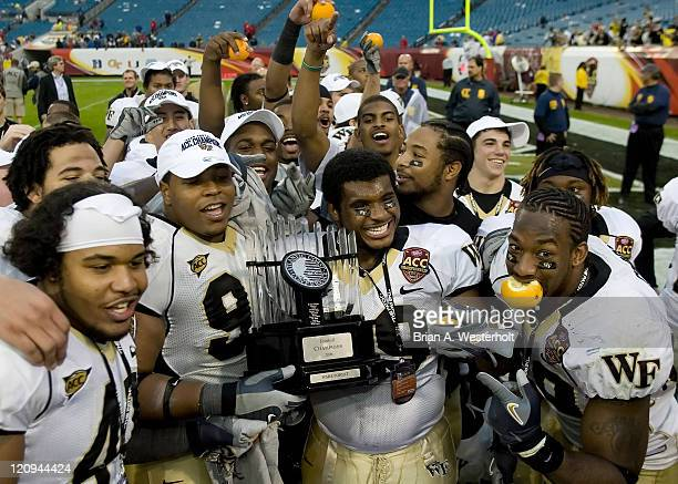 The Wake Forest Demon Deacons celebrate winning their first ACC Championship since 1970 at Alltel Stadium in Jacksonville Florida December 2 2006...