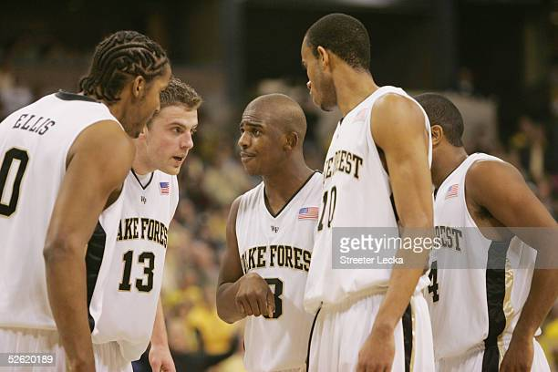 The Wake Forest Demon Deacons huddle on the court during the game against the Georgia Tech Yellow Jackets on March 2 2005 at Lawrence Joel Veterans...