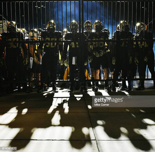 The Wake Forest Demon Deacons wait to take the field against the North Carolina State Wolfpack at BBT Field on November 18 2017 in Winston Salem...