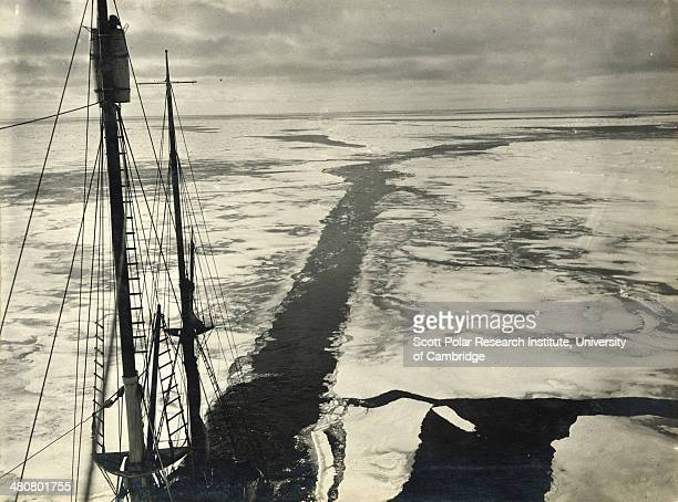 The wake of the 'Endurance' through young ice during the Imperial TransAntarctic Expedition 191417 led by Ernest Shackleton