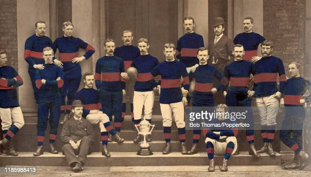 The Wakefield Trinity Rugby Football Club with the Yorkshire Challenge Cup circa 1879 Left to right backk row A Hirst W Jackson B Longbottom TO...