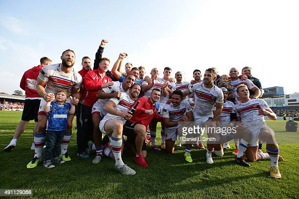 The Wakefield Wildcats celebrate a dramatic win against Bradford Bulls in the Million Pound Game between Wakefield Wildcats and Bradford Bulls at...