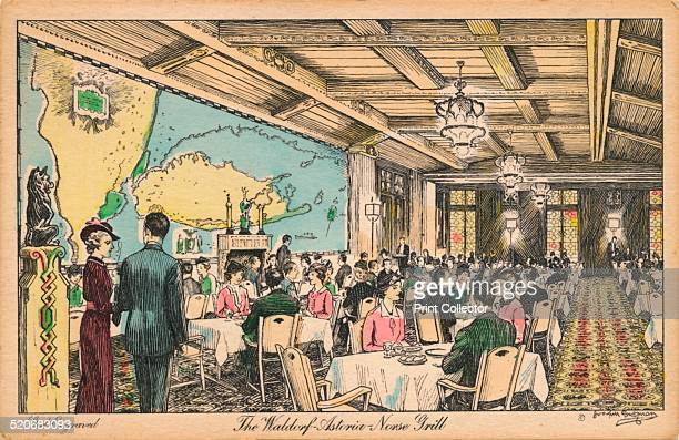 The Waldorf Astoria Norse Grill' c1930s The present hotel at 301 Park Avenue New York is a 47story 1905 m Art Deco structure designed by architects...